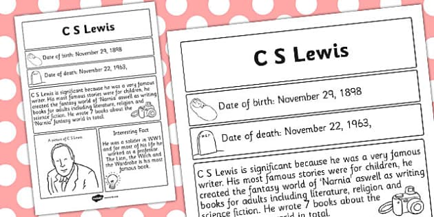 C S Lewis Significant Individual Fact Sheet - fact sheet, lewis