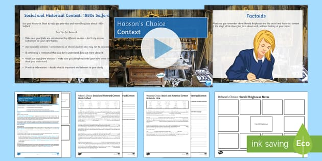 Context Lesson Pack to Support Teaching on 'Hobson's Choice' by Harold Brighouse - Hobson's Choice, Salford, social class, women's suffrage, First World War, social and historical c