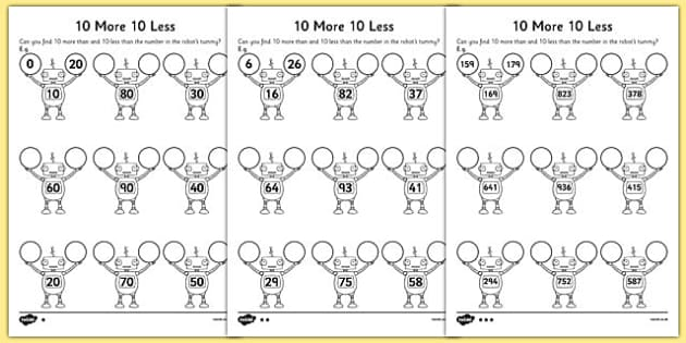 10 More 10 Less Robots Activity Sheet activity robot – 10 More 10 Less Worksheet