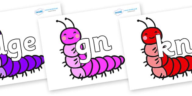 Silent Letters on Caterpillars - Silent Letters, silent letter, letter blend, consonant, consonants, digraph, trigraph, A-Z letters, literacy, alphabet, letters, alternative sounds