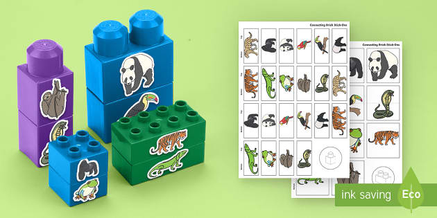 Jungle and Rainforest Animals Matching Connecting Bricks Game - EYFS, Early Years, KS1, animals, living things, in the jungle, amazon rainforest, gorilla, tiger, pa