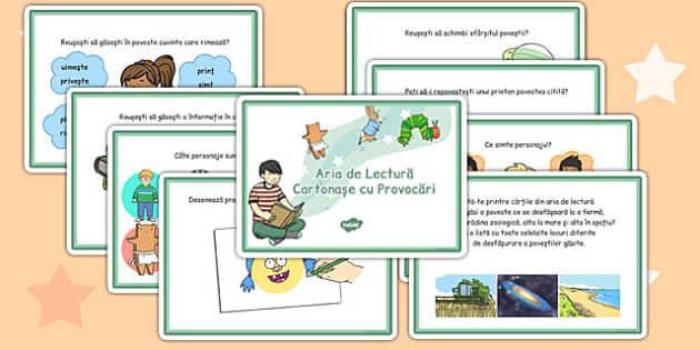 Cartonase cu Provocari in Area de Lectura - dezvoltare vocabular , Romanian