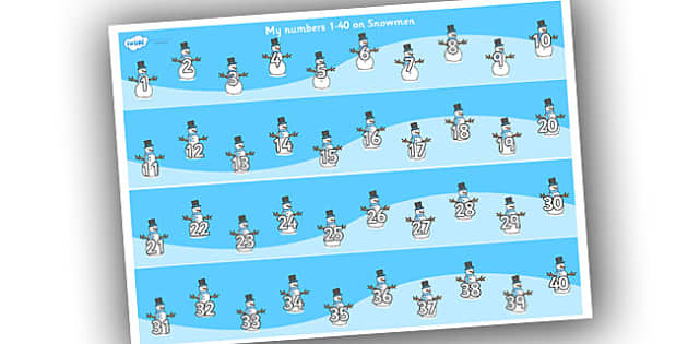 1-40 on Snowmen Number Strips - Maths, Math, number track, snowman, Numberline, Number line, Counting on, Counting back, counting, space