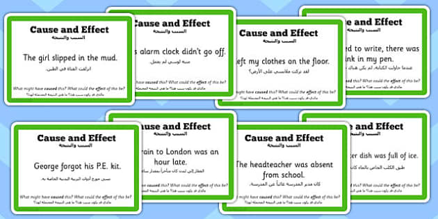 Guided Reading Skills Task Cards Cause and Effect Arabic Translation - english, books, narrative, discussion, group, small, library, style, infer, understand, consequence, describe, description, challenges