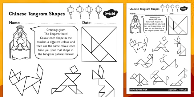 Colour in the Tangram Pictures Activity Sheet - colour, tangram, worksheet