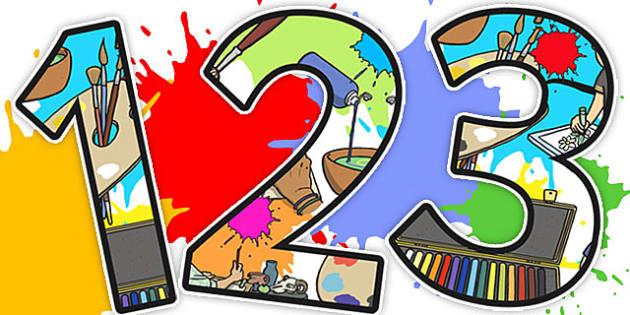 Art Themed Display Numbers - display numbers, display, art, a4