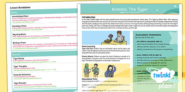 PlanIt Y6 Animals: The Tyger Topic Overview - tyger, tiger, tigers, william blake, poetry, adverts, charity, animals, hunting, hunters, PlanIt, Y6
