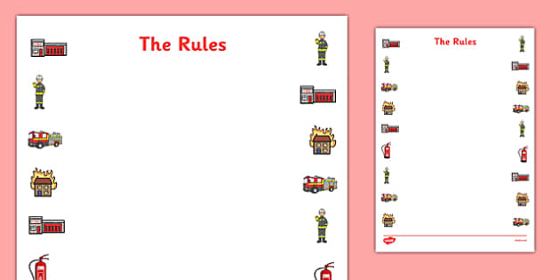 The Rules Activity Sheet - Firefighter, fire, rules, safety, danger, listening equipment, ladders, hose, fire engine, Uniform, protective clothing,. helmet, boots, jacket, worksheet