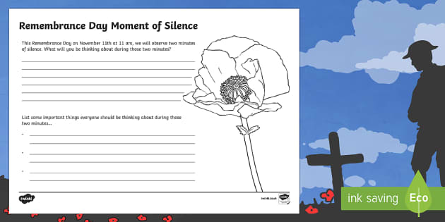 Remembrance Day Moment of Silence Activity Sheet