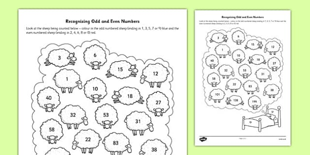 Recognising Odd and Even Numbers Activity Sheet - recognise, odd