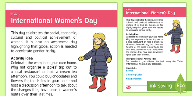 International Women's Day Adult Guidance - Calendar Planning March 2017, Activity Co-ordinator, Support, Ideas, Elderly Care, Care Homes, Inter