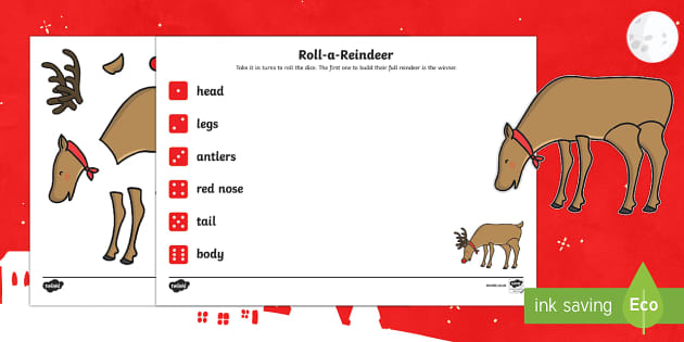 EYFS Roll a Reindeer Dice Activity