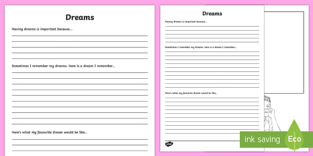 Dreams Reflection Writing Template - writing template, S.P.H.E., self assessment, feelings, social, personal and health education, myself