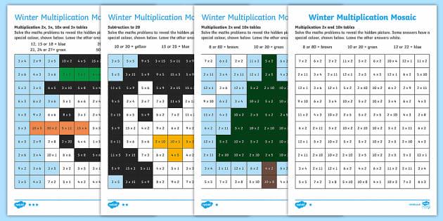 Winter Multiplication Mosaic Activity Sheets - Winter