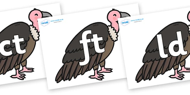 Final Letter Blends on Vultures - Final Letters, final letter, letter blend, letter blends, consonant, consonants, digraph, trigraph, literacy, alphabet, letters, foundation stage literacy