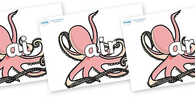 Phase 3 Phonemes on Octopuses - Phonemes, phoneme, Phase 3, Phase three, Foundation, Literacy, Letters and Sounds, DfES, display