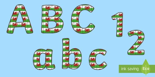Llythrennau Arddangos Baner Cymru