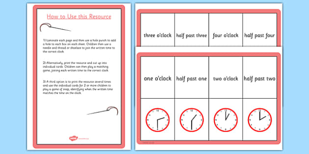 O Clock and Half Past Matching Threading Cards - card, thread