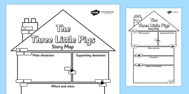The Three Little Pigs Story Map Writing Frame - the three little pigs, story map, story, map, reading, writing, english, literacy, character description, comprehension