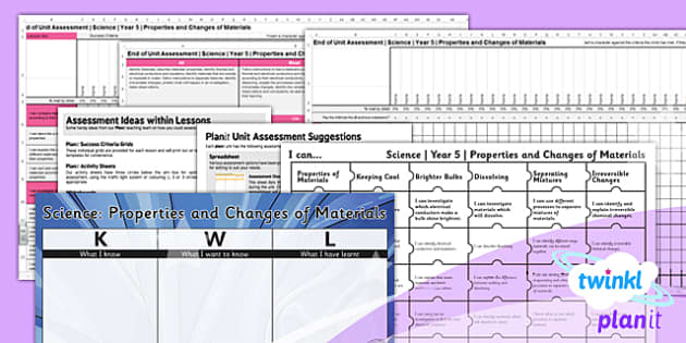 PlanIt - Science Year 5 - Properties and Changes of Materials Unit Assessment Pack - planit, assessment, pack