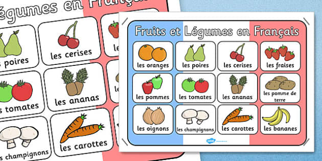 French Fruit and Vegetables Poster - French, Fruit, Vegetables