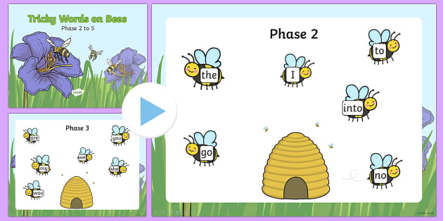 Phase 2 to 5 Tricky Words on Bees - phase 2, phase 3, phase 4, phase 5, tricky words, display, words, bees