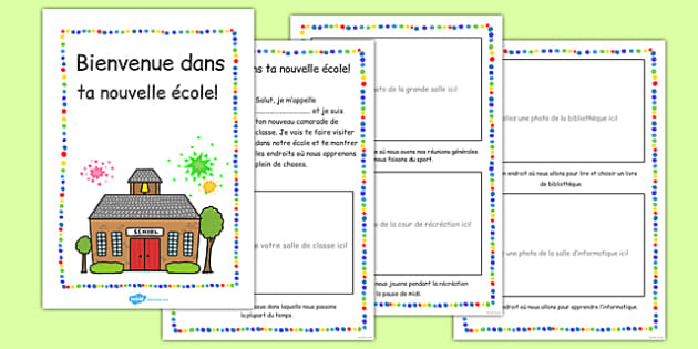 New Starter 'Welcome to Your New School' Booklet French - EAL, translated, first day