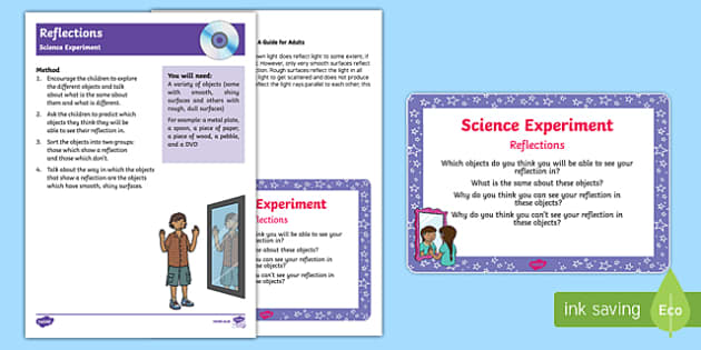 EYFS Reflections Science Experiment and Prompt Card Pack