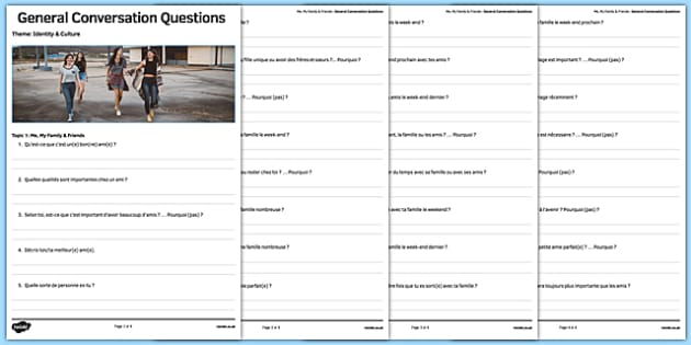 Liste de questions de conversation : Moi, ma famille & mes amis - french, Conversation, Speaking, Questions, Family, Friends, Relationships, Marriage, Rapports, Mariage, Famille, Amis
