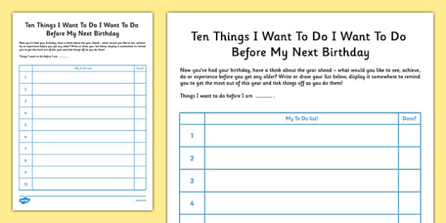 Ten Things I Want to Do Before My Next Birthday - bucket list, thinking skills, list, planning, year, to do list