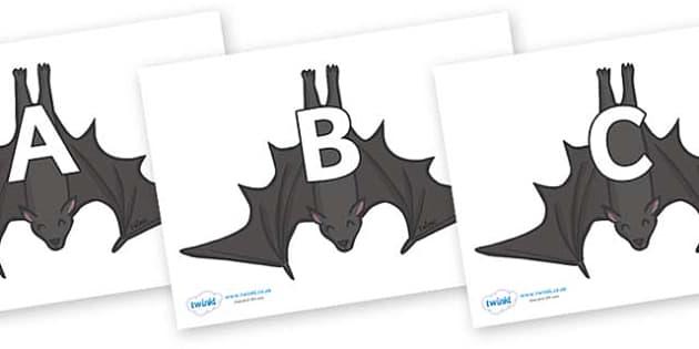 A-Z Alphabet on Bats - A-Z, A4, display, Alphabet frieze, Display letters, Letter posters, A-Z letters, Alphabet flashcards