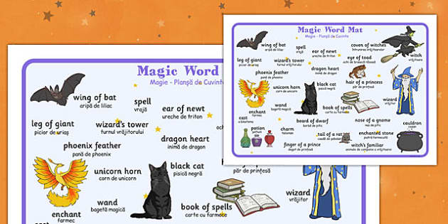 Magic Word Mat Romanian Translation - romanian, magic, word mat, halloween, word, mat