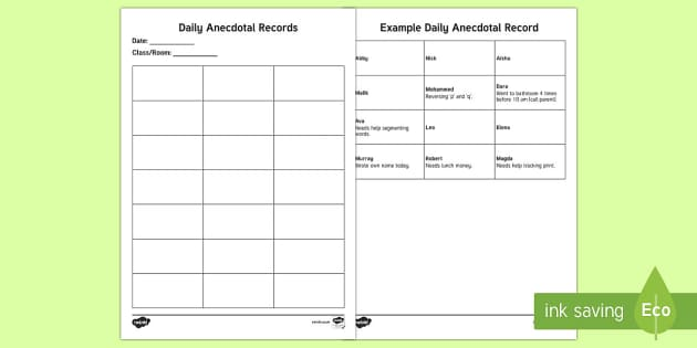 ECE Daily Anecdotal Record Report - New Zealand Back to School, anecdotal records, recording, observation, record keeping