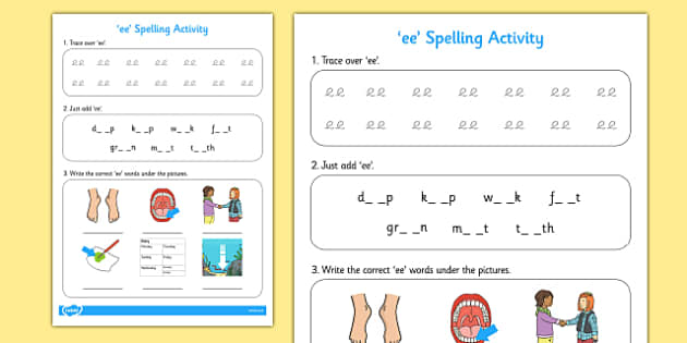ee Spelling Activity - spelling activity, ee, spell, activity