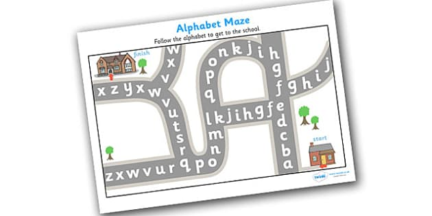 Alphabet Maze - alphabet, maze, puzzle, games, a-z, literacy , worksheet