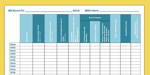 School SEN Record Primary - school, sen, record, primary, school record