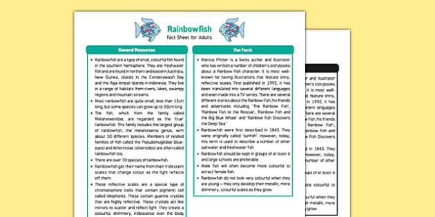Fact Sheet for Adults to Support Teaching on Rainbow Fish - Early Years, KS1, under the sea, The Rainbow Fish, Marcus Pfister