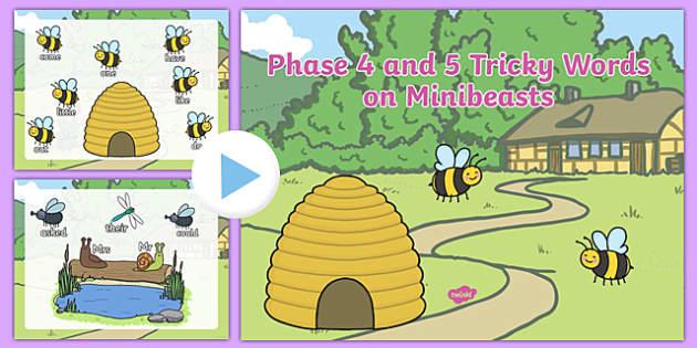 Phase 4 and 5 Tricky Words on Bees Coming Out of Hive PowerPoint - phase 4, phase 5, tricky words, bees, hive