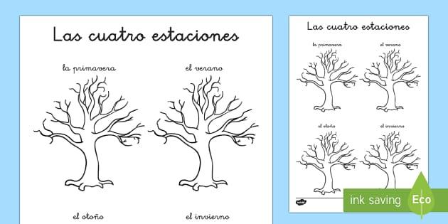 Las estaciones del año Ficha de leer y dibujar - El tiempo y las estaciones del año, proyecto, comprensión lectora, lectura,Spanish