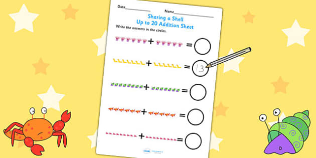 Up to 20 Addition Sheet to Support Teaching on Sharing a Shell - addition, story book