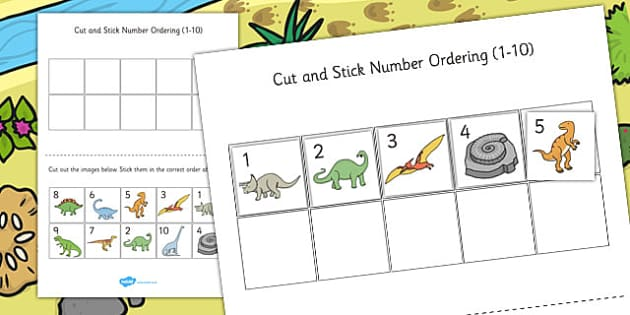 Dinosaur Themed Cut and Stick Number Ordering Sheets 1-10 - cut