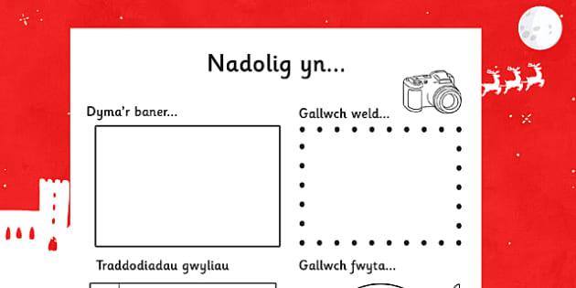 Taflen Nadolig o Gwmpas y Byd - cymraeg, nadolig, gwmpas, byd, christmas, around the world