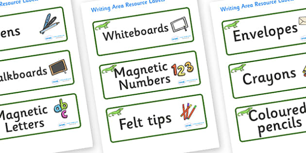 Iguana Themed Editable Writing Area Resource Labels - Themed writing resource labels, literacy area labels, writing area resources, Label template, Resource Label, Name Labels, Editable Labels, Drawer Labels, KS1 Labels, Foundation Labels, Foundation