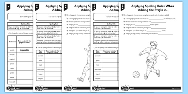 Applying Spelling Rules When Adding the Prefix in- Differentiated Activity Sheet Pack - GPS, grammar, spelling, punctuation, root word, worksheet
