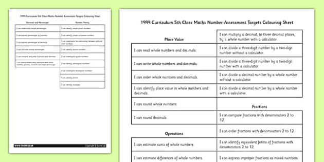 1999 Curriculum 5th Class Maths Number Assessment Targets Colouring Sheet - roi, gaeilge, maths, curriculum, 1999