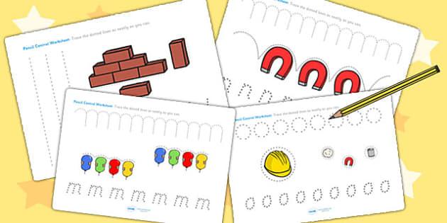 Materials Pencil Control Worksheets - material, pencil control
