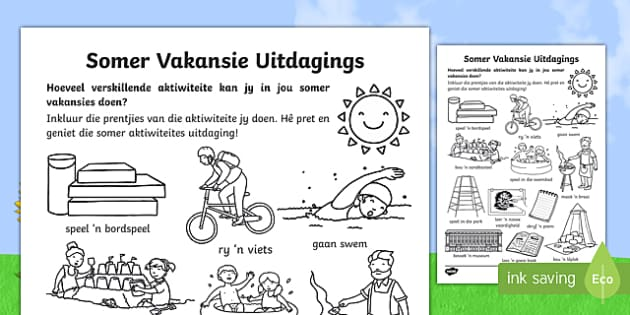 Somer Vakansie Uitdagings - Somer vakansie, vakansie, aktiwiteite, speletjies, huiswerk, huis leer