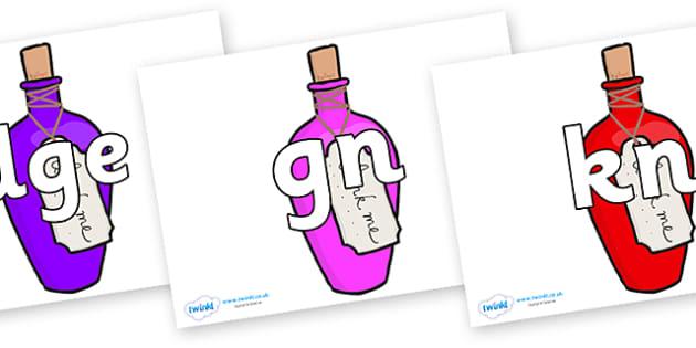 Silent Letters on Drink Me Bottles - Silent Letters, silent letter, letter blend, consonant, consonants, digraph, trigraph, A-Z letters, literacy, alphabet, letters, alternative sounds