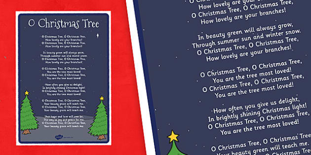 O Christmas Tree Lyrics Poster - o christmas tree, lyrics, poster, display, christmas