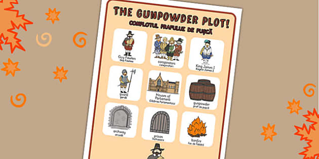 The Gunpowder Plot Vocabulary Poster Romanian Translation - romanian